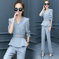 Elegant Pant Suits for Women New 2017 Womens Business Suits Formal Office Suits Work Blazer with Pants Ladies Trouser Set