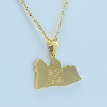 Gold Color Charms LIBERIA Map Flag Pendant Necklaces Liberians Middle East Jewellery #J0366 image