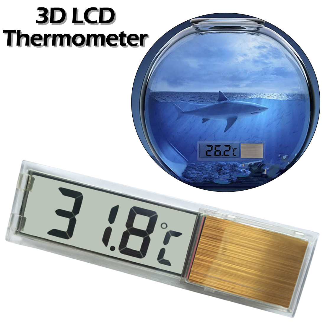 3D Crystal Digital LCD Digital Fish Tank Aquarium Thermometer Transparent Fish Tank Thermometer Fish Tank Aquarium Temp Meter