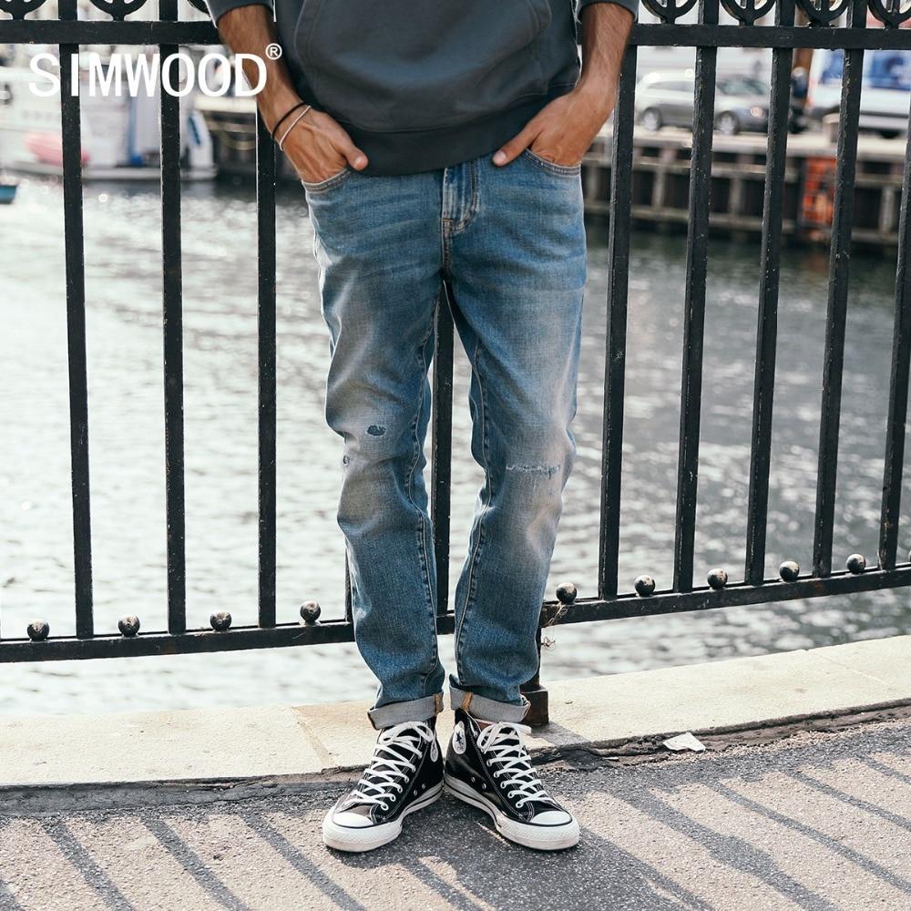 SIMWOOD 2018 осень зима новый рваные джинсы для мужчин Slim Fit отверстие хип хоп джинсовые мотобрюки уличная высокое качество мужской одежда 180426