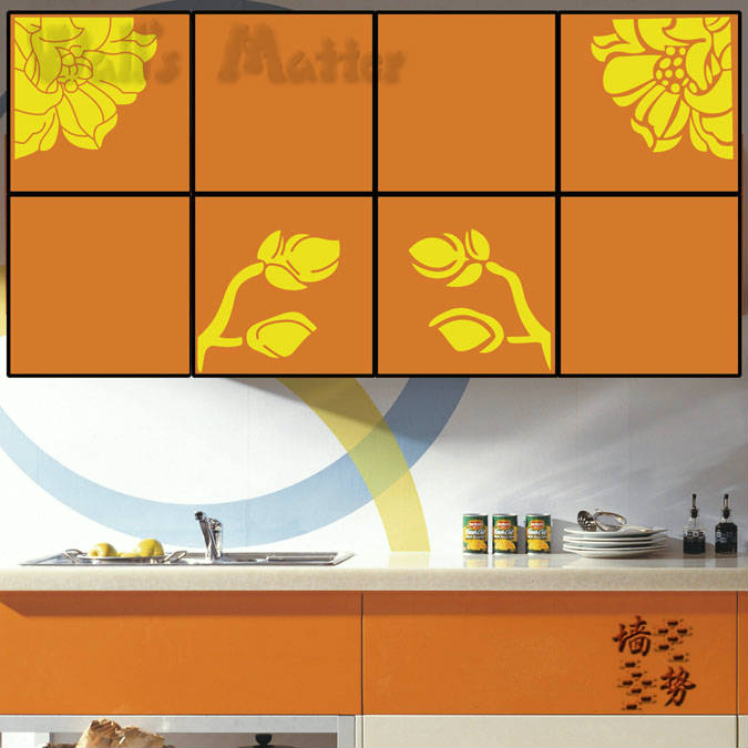 Elegant flowers kitchen cabinets decal stickers waterproof vinyl decorative cupboard  stickers free shipping(China (