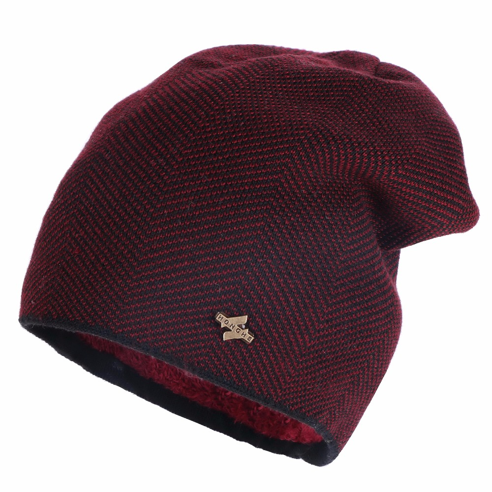 Women Men Cashmere Beanies Winter Hats fine Plaid Wool with Polyester Unisex Thermal Casual Winter hat