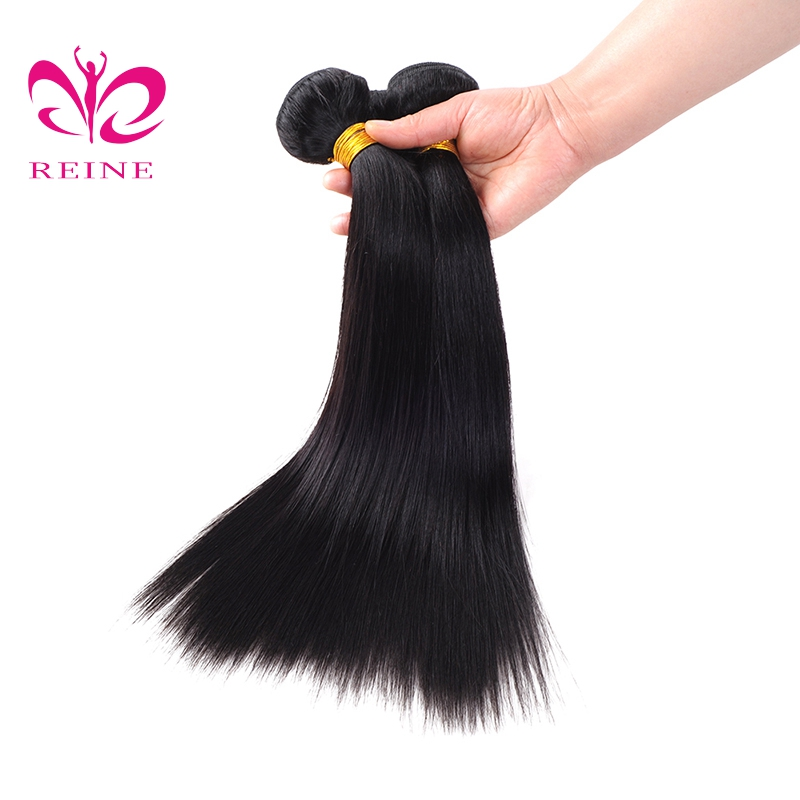 Reine Hair Human Hair Bundles Straight Indian Hair Weave 3 Pieces Natural Black 1B# Non Remy Hair Extensions Free Shipping
