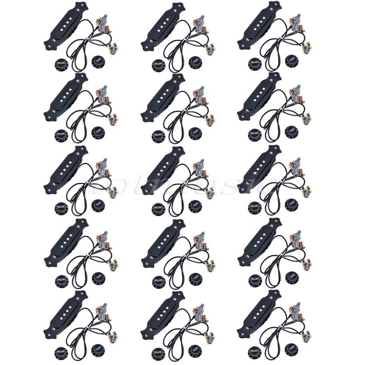 15 Sets Pre Wired Cigar Box font b Guitar b font Pickup With Volume Tone Pot