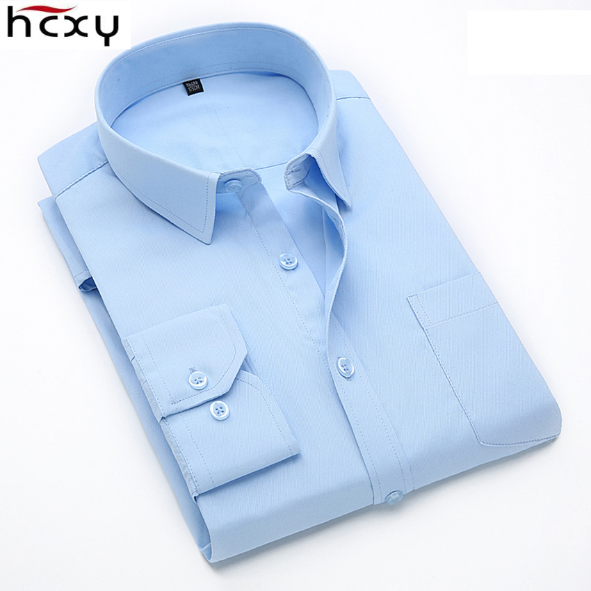 HCXY 2017 high quality classic business mens shirts long sleeve Casual Office shirt for men plus size 5xl dress shirt