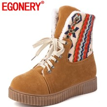 EGONERY winter warm pluche snowboots Geometrische patronen Western Cowboy Cool Girl big size 34-43 vrouwen schoenen slip -on enkellaarsjes(China)