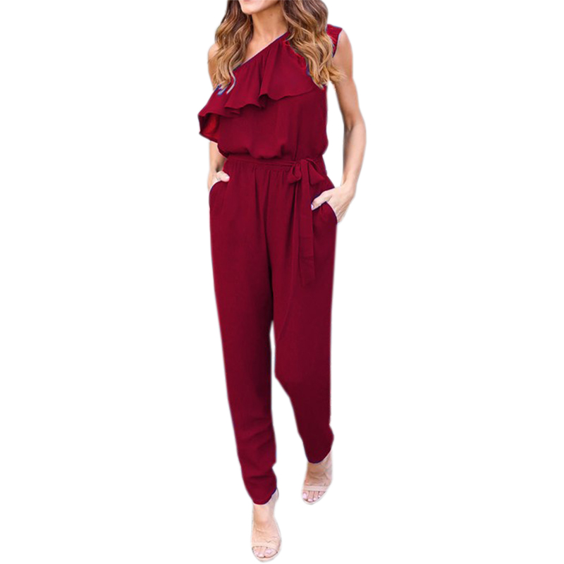 Chiffon Overalls Sexy Casual One Shoulder Long Playsuits Jumpsuits 2018 Summer Ruffles Rompers Women Jumpsuit Plus Size GV608