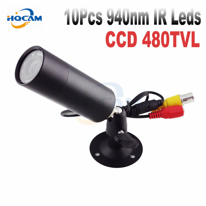 HQCAM 480TVL CCD Mini Bullet Outdoor Invisible 10pcs IR 940NM 0 Lux Night Vision Camera CCTV Mini Camera With 1/3
