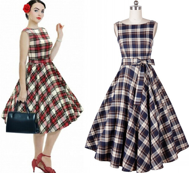 50S Audrey Hepburn Vintage Plaid Dress Plus Size Evening Dress Long ...