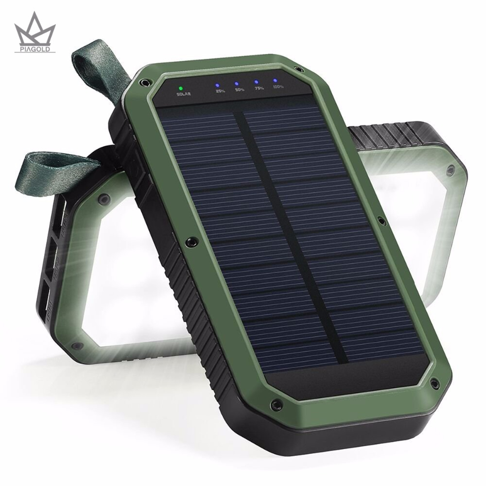 PIAGOLD Chargeur Solaire, 8000 mAh USB 3 Ports et 21LED Lumière batterie Portable solaire Portable Batterie Chargeur de Téléphone Portable, Panneau Solaire