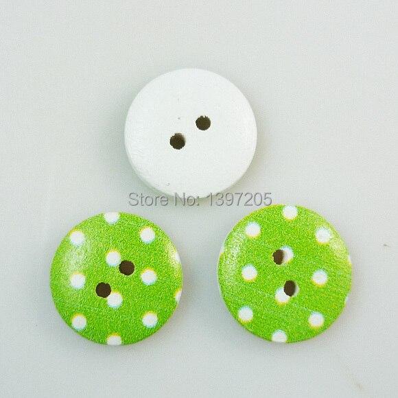 Verde 100 unids dot forma pintura botones de madera 15mm ropa de ...