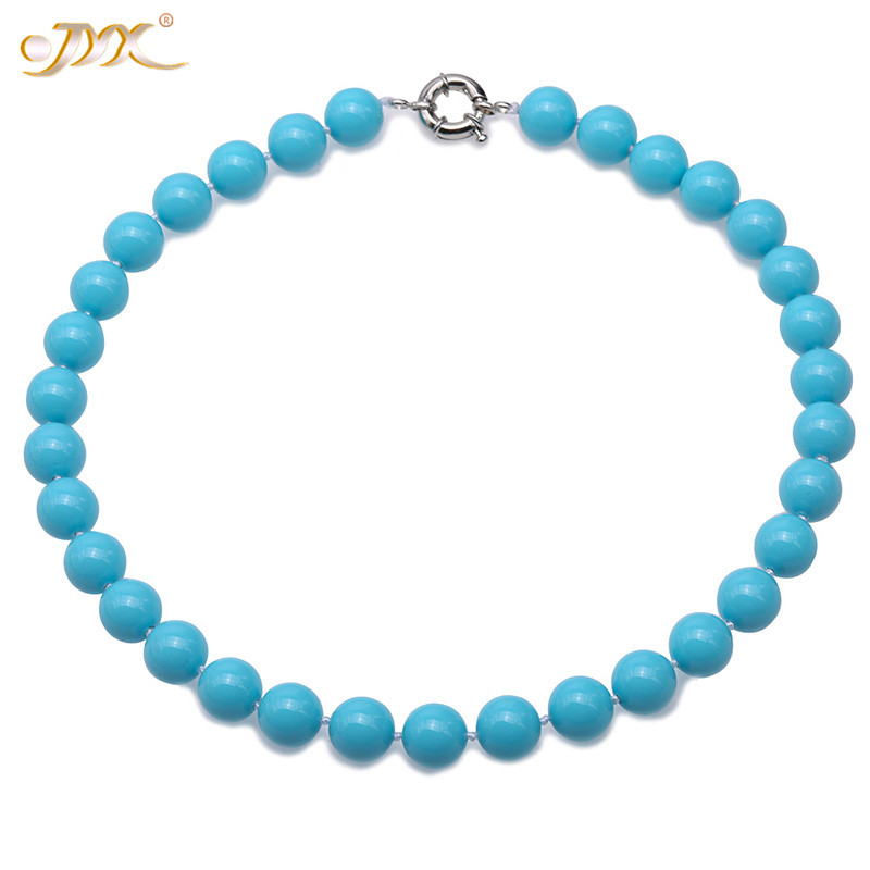 "JYX Bohimia SeaShell Pearl Necklace Jewelry 12mm Round sky blue Shell Pearl Necklace 18"" High Luster gift for women"