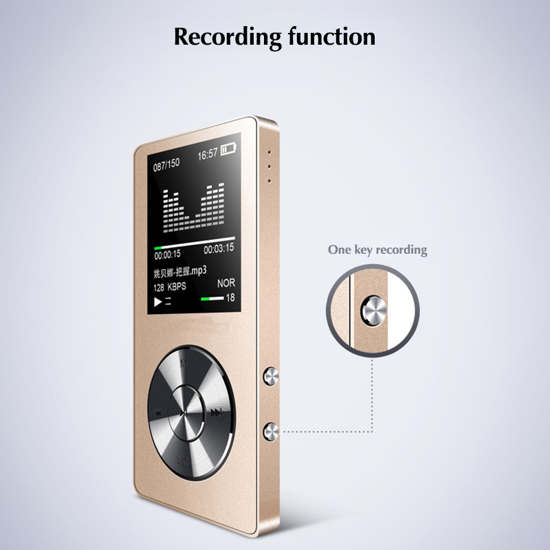 DOITOP 8GB Stereo Music Audio Walkman Long Standby MP3 Video Player with FM Record TF 1