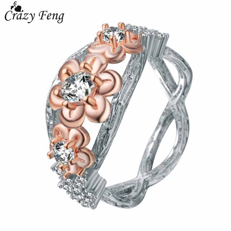 Crazy Feng Elegant Flower CZ Crystal Wedding Engagement Rings For Women Trendy Cross 8 Anel Party Jewelry Valentines Day Gift