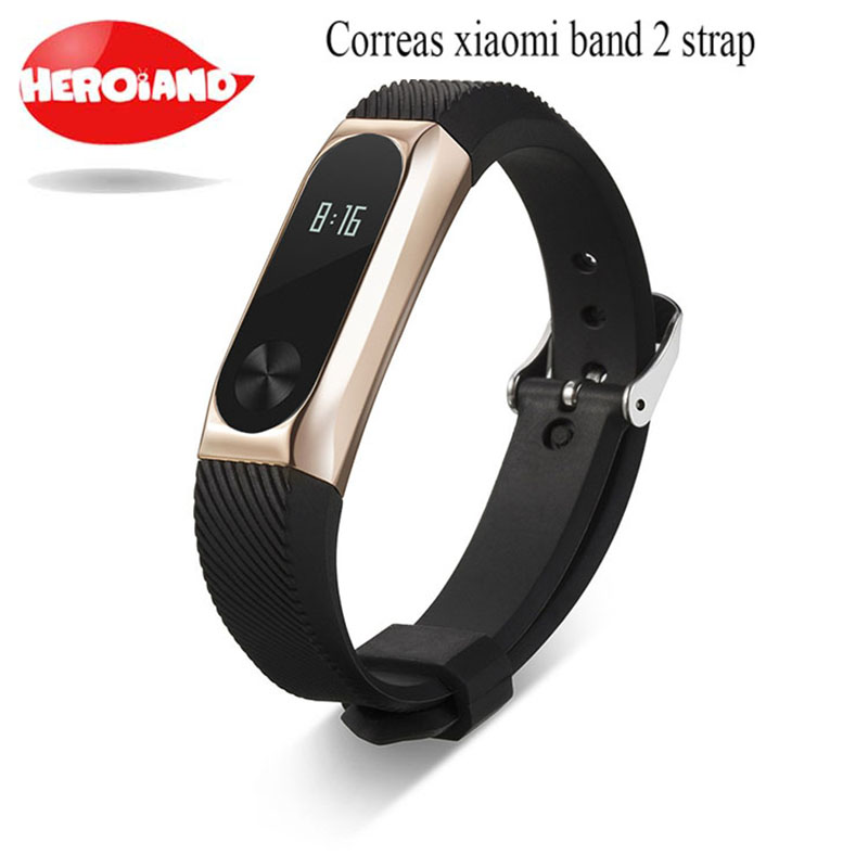 new Silicone miband2 strap Replacement <font><b>mi</b></font> 2 <font><b>band</b></font> accessories strap for <font><b>xiaomi</b></font> <font><b>band</b></font> 2 with fashional <font><b>pulsera</b></font> <font><b>Metal</b></font> frame image