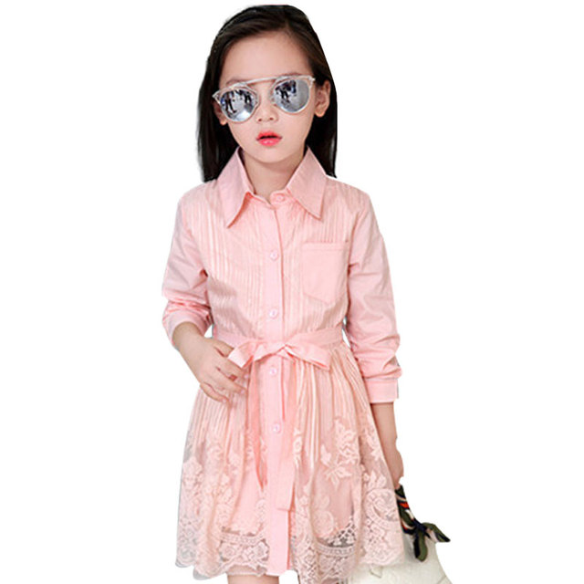 Children's Clothing 2016 Autumn Fashion Girl Long Sleeve Lace Dress Classical All-match Bow Belt Princess Dress Vetement Fille