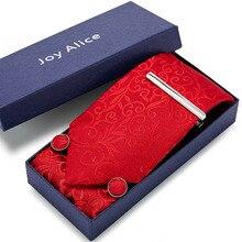 Gift box packing men brand luxury necktie pocket square Cufflinks,pin Men neck ties silk tie set cufflinks handkerchief charming plating white steel cufflinks for men protractor set square pair