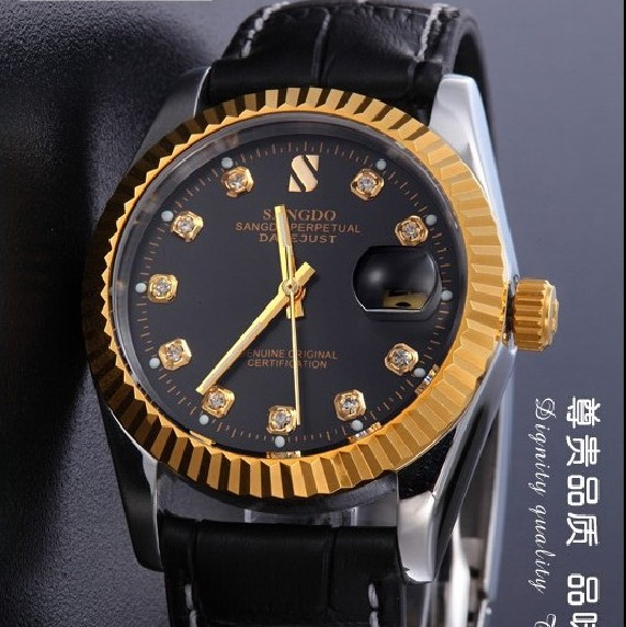 38MM SANGDO Sapphire mirror Gold plating Automatic Self Wind movement High quality 2016 new fashion Men