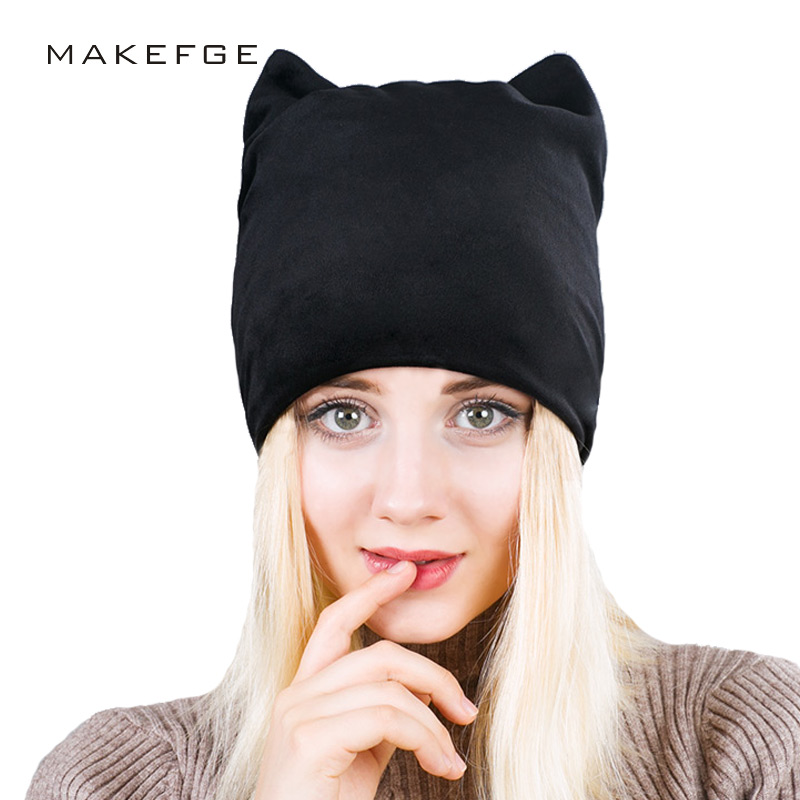 Autumn 2018 Brand Warm Beanies Skullies Winter Cap For Girl Womens Beanies Add Velvet Hedging Cap With Ears Flannel Cat Hat ...