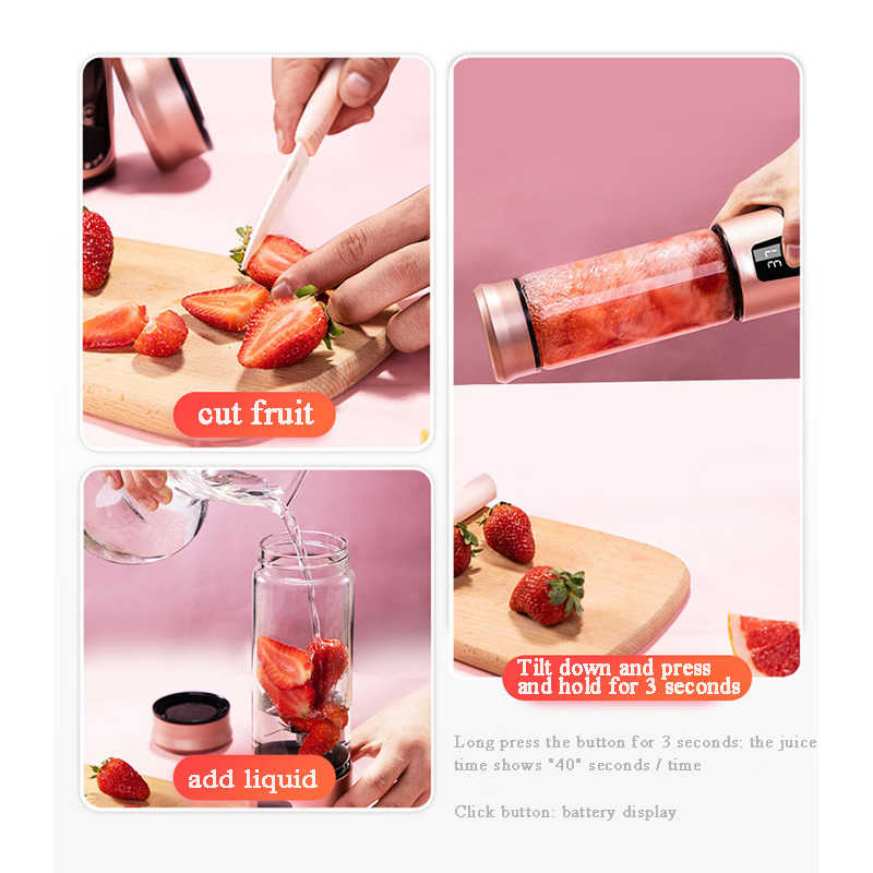 Mini Vácuo Mistura Exprimidor Juicer Máquina Portátil De Naranja Frutas Legumes Electrico Mão Juicer Smoothie Liquidificador de Vidro