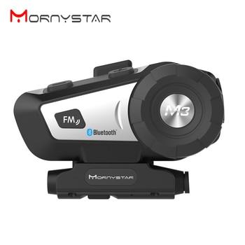 New Mornystar M3 Plus Bluetooth Motorcycle Helmet Intercom  FM Interphone Headset+Soft Microphone for Full Face Helmet