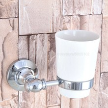 Bathroom Cup Holder Chrome Ceramic Single Rack Accessories zba791