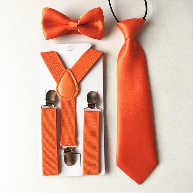 3PCS Children Baby Boys Kids Suspenders Tie Bowtie Set 3 Clip-on Elastic Adjustable Braces Straps Clothing Accessories BDTZ008