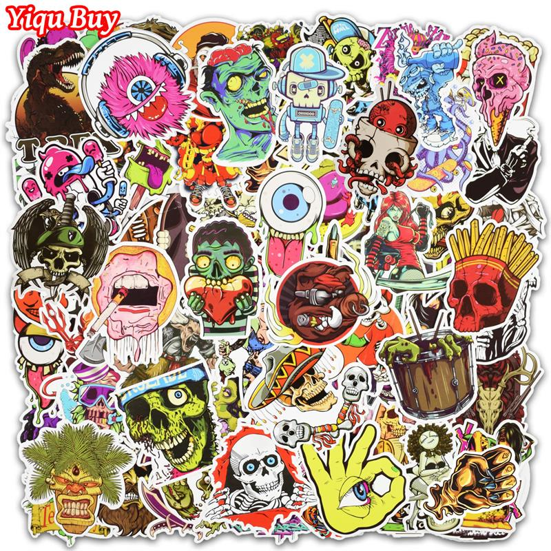 New 100 PCS Horror Doodle Stickers For Laptop Phone Skateboard Luggage Cars Mixed Funny Graffiti Decals Cool DIY Sticker
