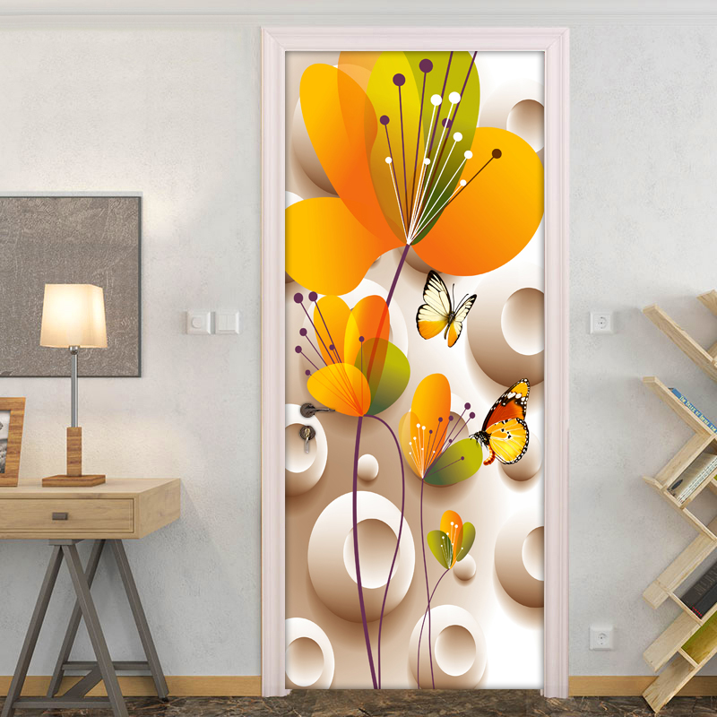 Modern Simple Fashion 3D Stereoscopic Flower Butterfly Wall Stickers DIY Mural Wallpaper For Bedroom Living Room Door Sticker 3D custom baby wallpaper snow white and the seven dwarfs bedroom for the children s room mural backdrop stereoscopic 3d
