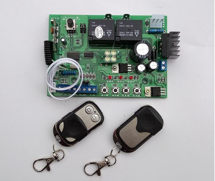 Garage Gate Door Opener Motor PCB Mainboard  Motherboard Controller With 2 Remote Controls(24VDC Use)