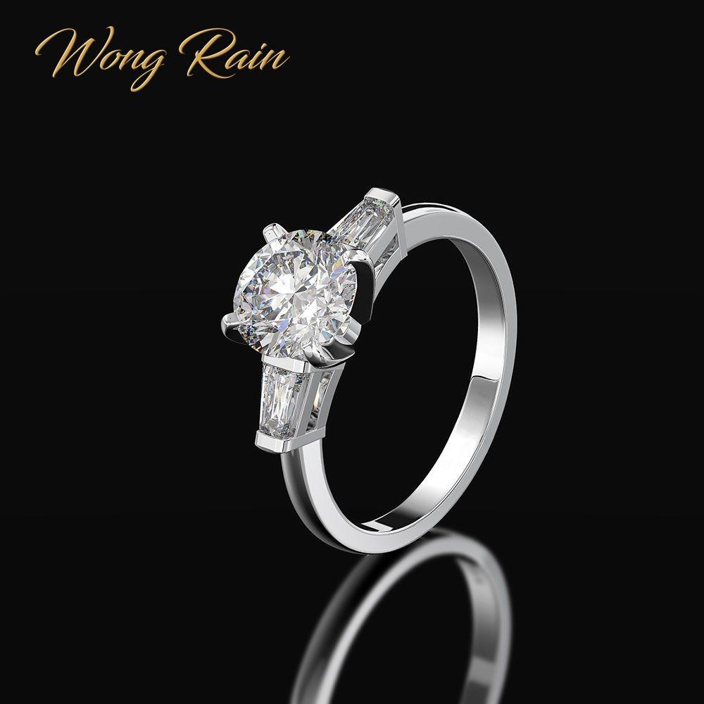 Wong Rain Vintage 100% 925 Sterling Silver Created Moissanite Gemstone Wedding Engagement Women Ring Fine Jewelry Wholesale
