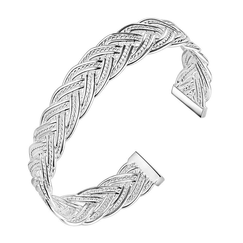 Fashion jewelry silver bangles braided opening top quality simple wild wide bangles 10mm woman Europe Style Hot
