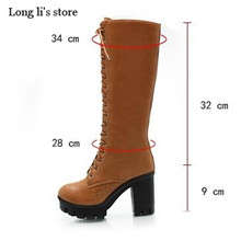 botas mujer Plus:34-42 43 Autumn/Winter women's pumps fashion Thick high-heeled shoes side zipper cosplay punk Knee-High boots