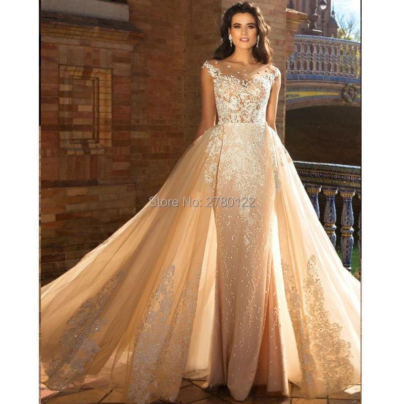 Dubai Destacável Train Sereia Vestidos de Casamento 2019 robe de mariage Overskirts Champanhe Applique vestido de noiva Vestidos de Noiva