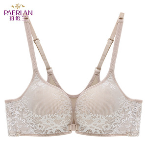 Image 4 - PAERLAN Seamless Wire Free lace Floral bra small breasts Push Up One   Piece sexy Front Closure underwear Women 3/4 Cup