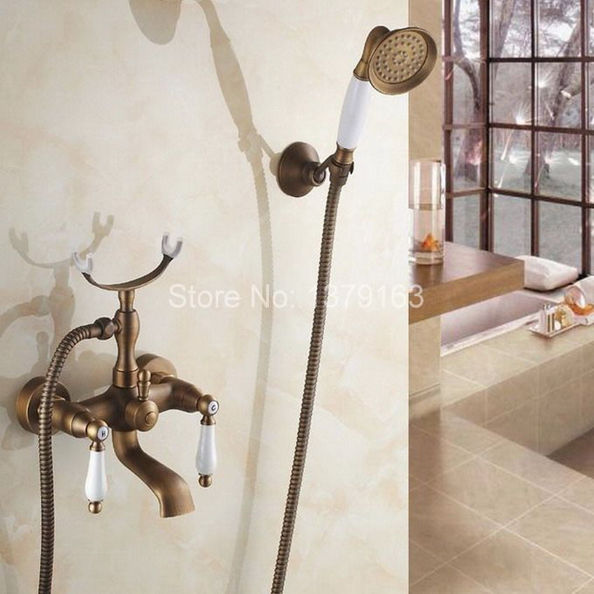 Antique Brass Dual Ceramics Handles Clawfoot Tub Filler Wall Mount Bathtub Shower Mixer Tap with Wall Bracket Holder atf156 polished chrome double cross handles wall mounted bathroom clawfoot bathtub tub faucet mixer tap w hand shower atf902
