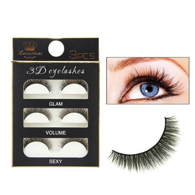 95debfbb573 New Fashion 3 Pairs Luxurious 3D False Eyelashes Cirsscross Natural Long  Black Eye Lashes Extension Makeup Tool Kit