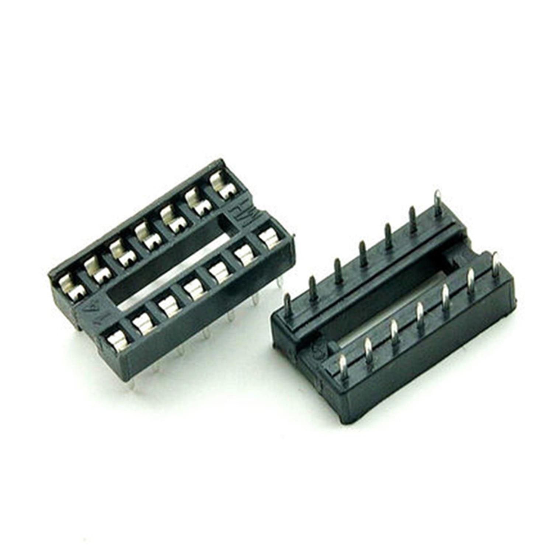 34PCS/Lot 14 Pin DIP Square Hole IC Sockets Adapter 14Pin Pitch 2.54mm Connector ta75902p dip 14