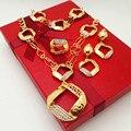 Presente nupcial Do Casamento Nigeriano Beads Africanos Conjunto de Jóias Design de Moda Dubai Banhado A Ouro Conjunto de Jóias Para A Senhora Traje