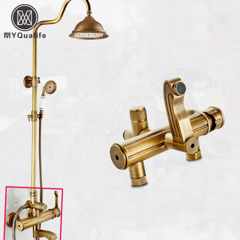 Antique Brass Rainfall 8 Shower Faucet Wall Mounted Tub Tap Bath Shower Mixers with Brass Ceramic Handshower shower faucet wall mounted antique brass bath tap swivel tub filler ceramic style lift sliding bar with soap dish mixer hj 67040