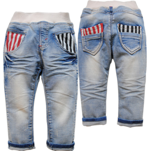 3866 baby boys jeans baby girls jeans light blue spring casual pants 2016 new kids jeans childr's trousers  not fade soft denim
