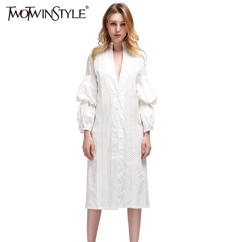 TWOTWINSTYLE Midi Evening Casual White Long Women Blouses Shirt Blouse Puff Sleeve 2019 Sexy Female Clothes