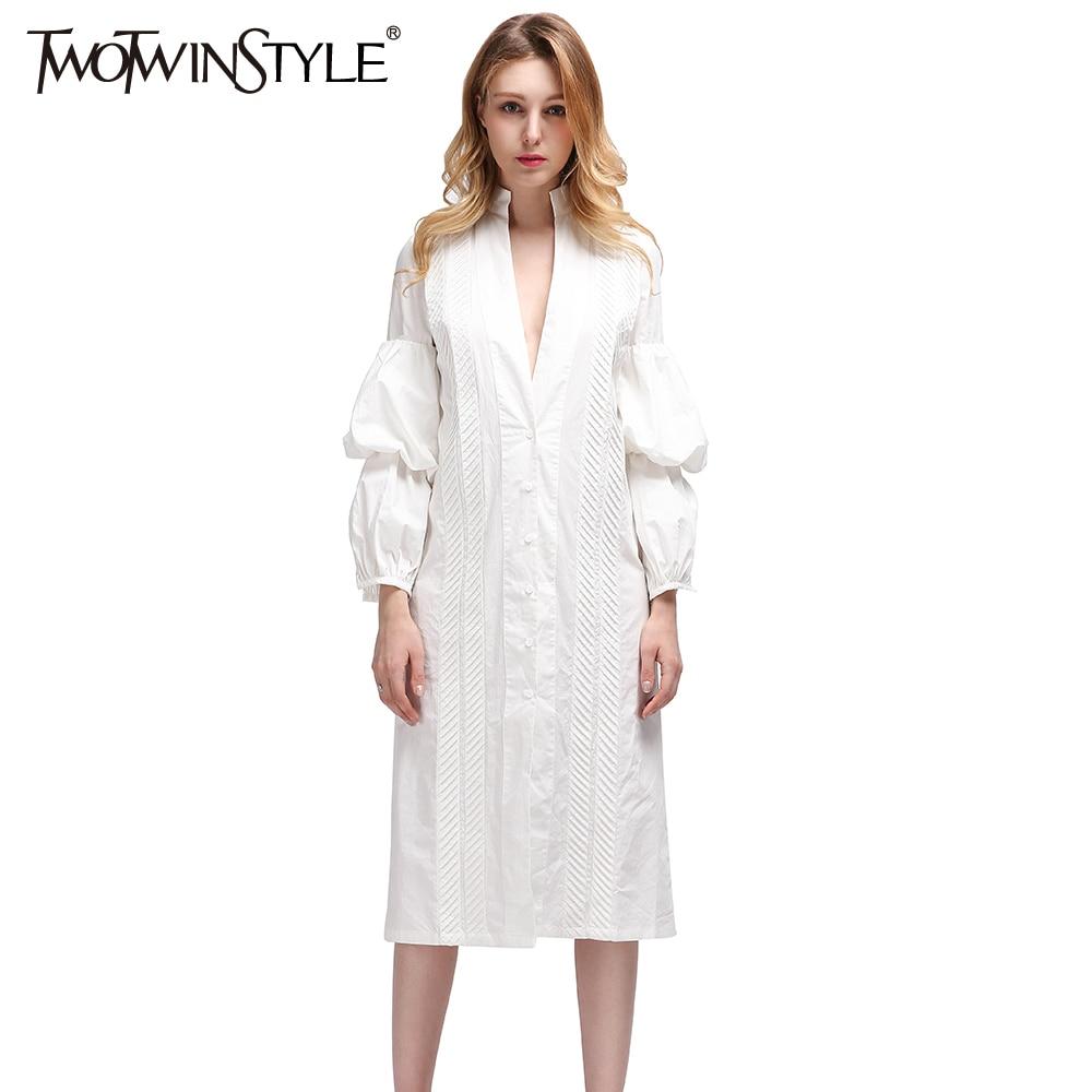 TWOTWINSTYLE Midi Noche Casual Blanco Largo Blusas de Las Mujeres Camisa Blusa Puff Sleeve 2017 Sexy Ropa Femenina Coreano