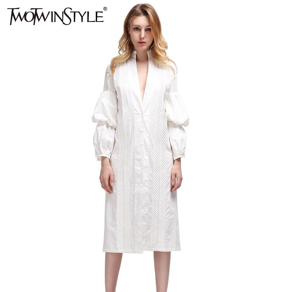 TWOTWINSTYLE Midi avond Casual witte lange vrouwen Blouses shirt Blouse bladerdeeg mouw 2017 Sexy vrouwelijke kleding Koreaans