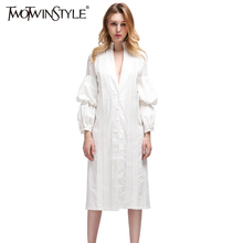 TWOTWINSTYLE Midi Evening Casual White Long Women Blouses Shirt Blouse Puff Sleeve 2017 Sexy Female Clothes Korean