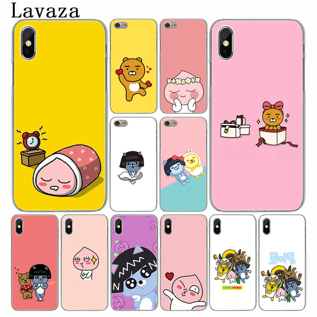 buy online 6d711 272fc US $1.47 22% OFF|Lavaza Korean cartoon cocoa apeach kakao friends Case for  Apple iPhone XS Max XR X 8 7 6 6S Plus 5 5S SE 5C 4S 10 Cover Cases-in ...