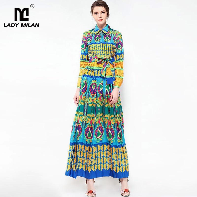 New Arrival 2018 Womens Turn Down Collar Long Sleeves Sash Belt Printed Pleated Elegant Designer Casual Maxi Dresses