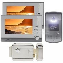 DIYSEUCR Electric Lock 7 inch LCD Display Video Door Phone Visual Intercom Doorbell RFID LED Night Vision 1 Camera 2 Monitor