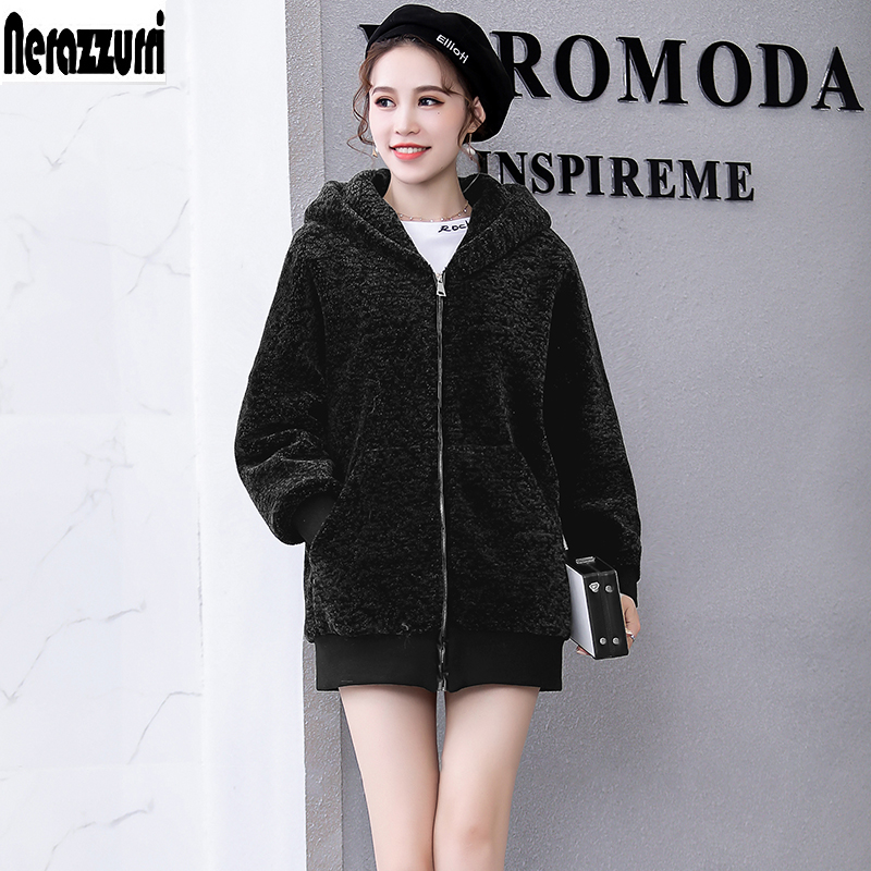 Nerazzurri Winter Real Fur Jacket Women 2019 Plus Size Hooded Bomber Jacket 5xl 6xl  Zipper Long Sleeve Sheep Shearling  Coats