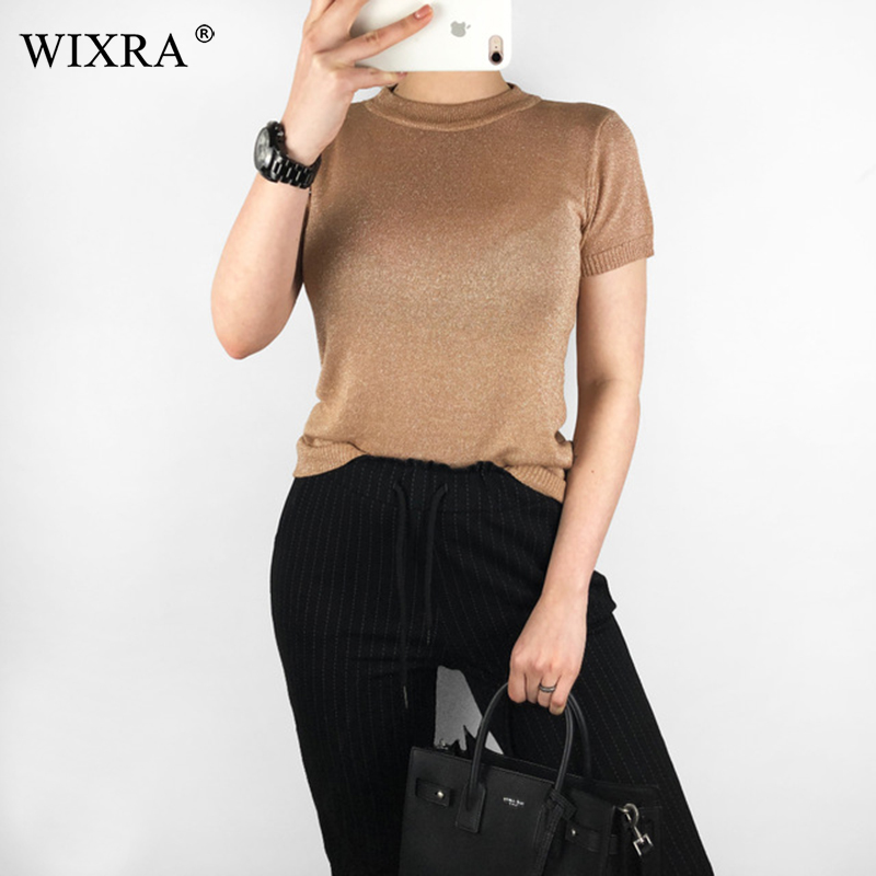Wixra Women Spring All Base Match Short Sleeve Sweater O-Neck Soft Slim Elasticity Pullovers Solid Color Summer Womens Clothing